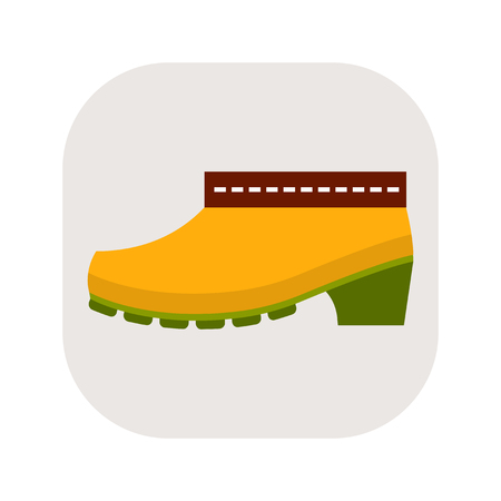 Rubber boots. Work clothes for construction, garden and rest. Flat icon or object on white background. Vector illustration