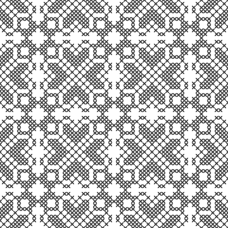 Cross stitch. Black and white seamless decorative pattern. Embroidery and knitting. Abstract geometric background. Ethnic ornaments. Vector illustration Archivio Fotografico - 125017558