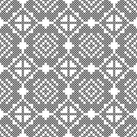 Cross stitch, seamless decorative pattern. Embroidery and knitting. Abstract geometric background. Ethnic ornaments. Vector Archivio Fotografico - 125017573