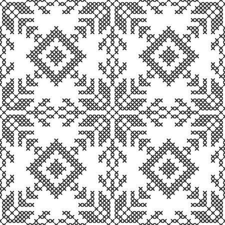 Point de croix. Motif décoratif sans couture noir et blanc. Broderie et tricot. Abstrait géométrique. Ornements ethniques. Illustration vectorielle