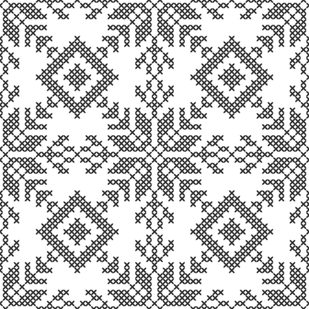 Cross stitch. Black and white seamless decorative pattern. Embroidery and knitting. Abstract geometric background. Ethnic ornaments. Vector illustration