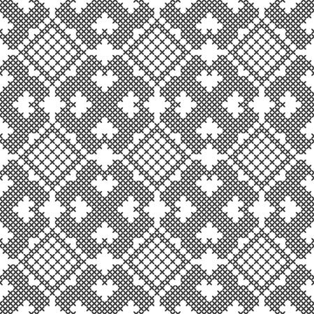 Cross stitch. Black and white seamless decorative pattern. Embroidery and knitting. Abstract geometric background. Ethnic ornaments. Vector illustration Archivio Fotografico - 117913358