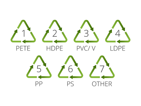 Recycling symbols for plastic. Flat icons, signs for design packaging. Illustration