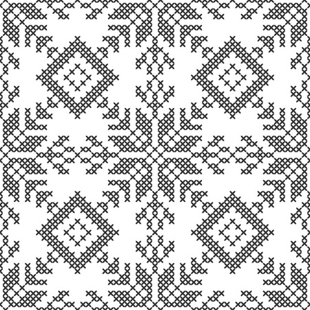 Cross stitch. Black and white seamless decorative pattern. Embroidery and knitting. Abstract geometric background. Ethnic ornaments. Vector illustration Archivio Fotografico - 124417868