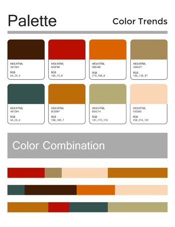 Color palette, harmonious combination. Fashion colors for using in design, web, clothes, interiors and textiles. Vector illustration