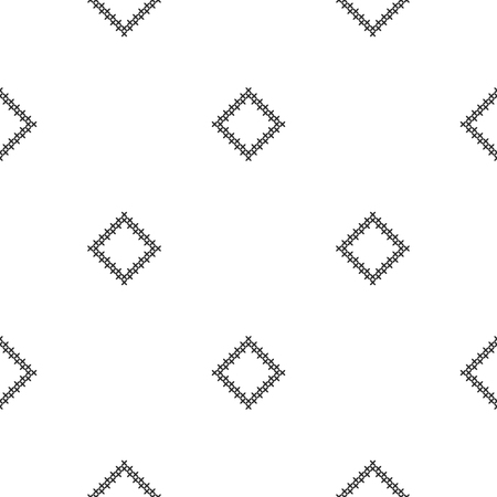 Cross-stitch. Black and white seamless decorative pattern. Ornamented background for design, wallpaper, textile or cover. Illustration. Archivio Fotografico - 122979681