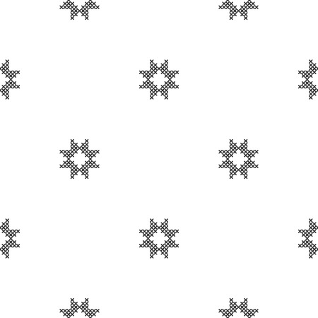 Cross-stitch. Black and white seamless decorative pattern. Ornamented background for design, wallpaper, textile or cover. Illustration.