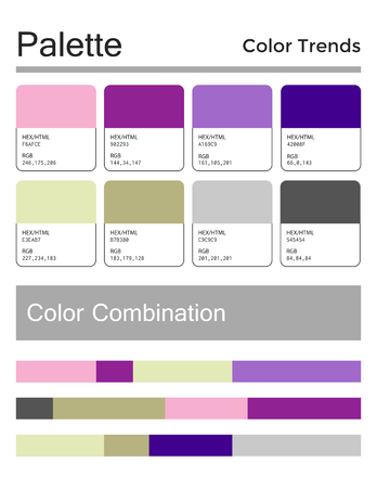 Color palette, harmonious combination, codes and names. Fashion colors for using in web, clothes, interiors and textiles 版權商用圖片 - 121961977