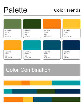 Color palette, harmonious combination, codes and names. Fashion colors for using in web, clothes, interiors and textiles
