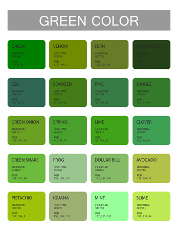 Green. Color codes and names. Selection of colors for design, interior and illustration. Poster Ilustração
