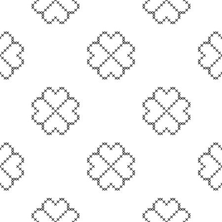Cross-stitch. Black and white seamless decorative pattern. Ornamented background for design, wallpaper, textile or cover. Illustration. Archivio Fotografico - 122687482