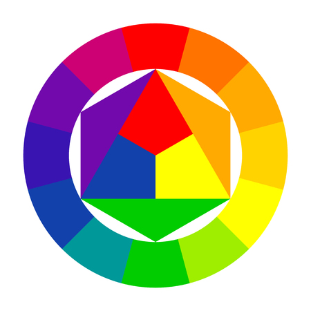 Color wheel, spectrum. Scheme selection of color combinations. Textbook or poster. Illustration Çizim