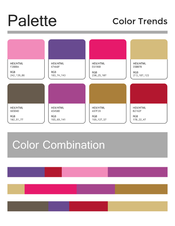 Color palette, harmonious combination, codes and names. Fashion colors for using in design, web, clothes, interiors and textiles. Illustration
