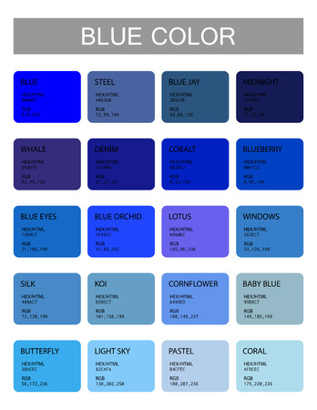 Blue. Color codes and names. Selection of colors for design, interior or illustration. Poster