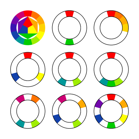Color schemes and harmonies. Color wheel, spectrum. Scheme selection of combinations. Textbook or poster. Illustration
