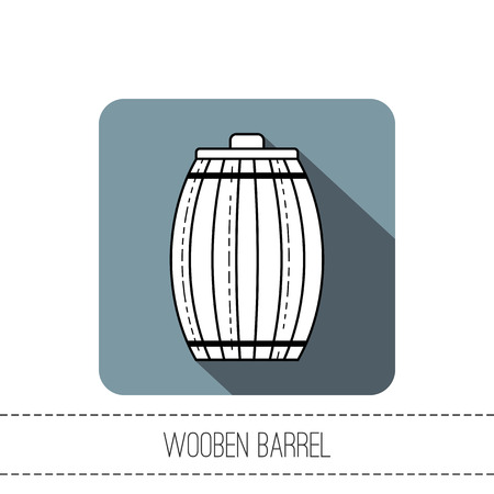 Wooden barrel for beer, water and beverages. Flat icon for site, business. Vector illustration  イラスト・ベクター素材