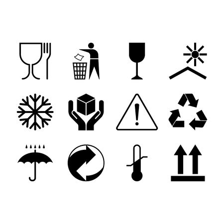 Packaging symbols. Flat package signs isolated on white background.