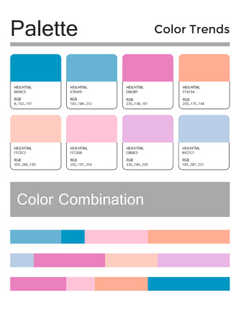 Color palette, harmonious combination, codes and names. Fashion colors for using in web, clothes, interiors and textiles Illustration