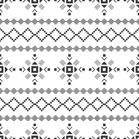 Black and white seamless pattern. Aztec abstract geometric background. Ethnic hipster style.