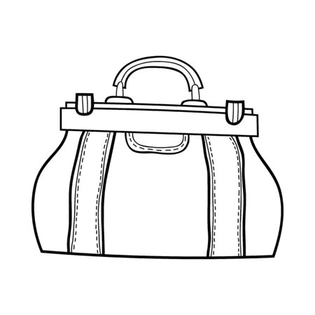 Female bag. Black and white fashion illustration for coloring books and pages. Stock Illustratie