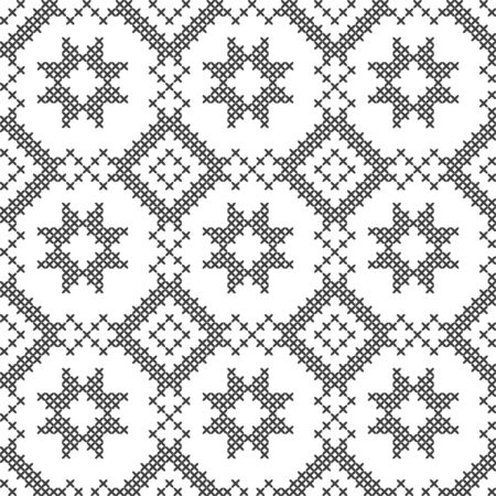 Black and white geometric pattern. Imitation cross stitch. Hand made background.