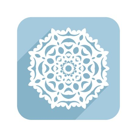 Lace or patterned snowflake. Illustration for greeting cards or other design. Christmas symbol