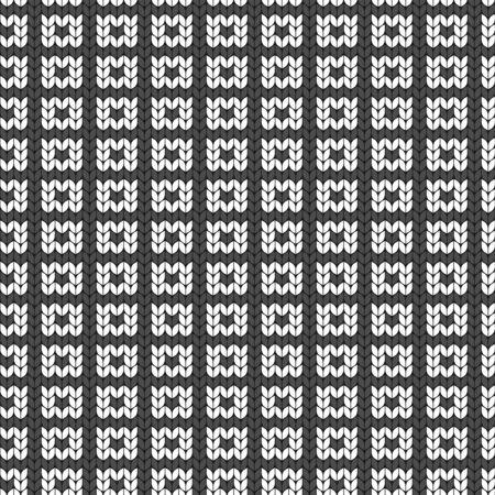 Geometric black and white pattern. Imitation knitting or embroidery. Seamless background. Jacquard.