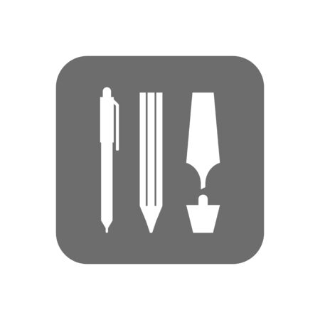 Pen, pencil and marker. Flat icon, object of stationery. Subjects for office, business and education