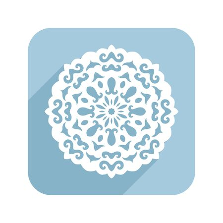 Lace or patterned snowflake. Illustration for greeting cards or other design.  イラスト・ベクター素材