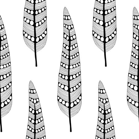 Decorative, ornate bird feathers. Black and white outline illustration for coloring book or page. Seamless pattern.