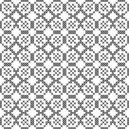 Black and white geometric pattern. Imitation cross stitch. Hand made background. Illustration Stock Illustratie
