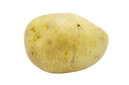 Potato tuber close up isolated on a white background. Fresh vegetables, food for vegans.