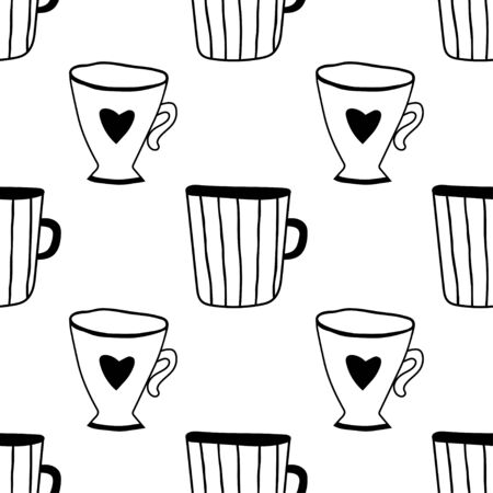 Black and white illustration of tea or coffee mugs. Seamless pattern for coloring book, page.