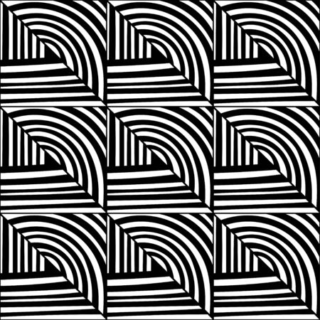 Black and white decorative background for coloring book, page. Seamless geometric pattern. Doodle illustration