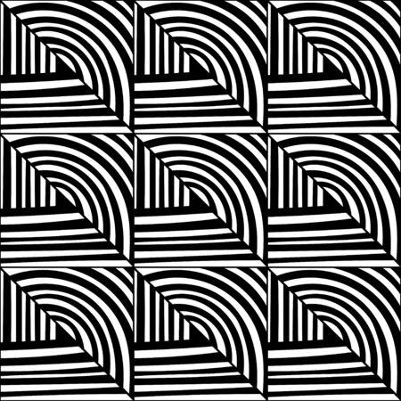 Fondo decorativo blanco y negro para colorear libro, página. Patrones geométricos sin fisuras. Ilustración de Doodle