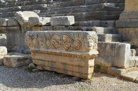 Ancient architecture in Demre. Turkey. Lycian necropolis with tomb carved in rocks in Mira