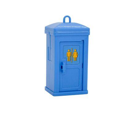 Blue public toilet cubicle isolated on white background. Toy