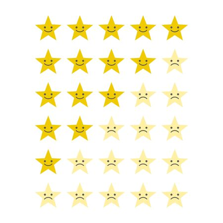Stars for rating or review. Feedback rate of satisfaction. Level Vector Illustration