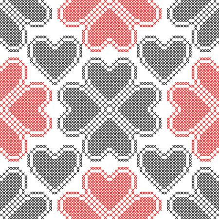 Hearts. Geometric background. Imitation cross stitch. Seamless decorative design for valentine day and wedding cards.