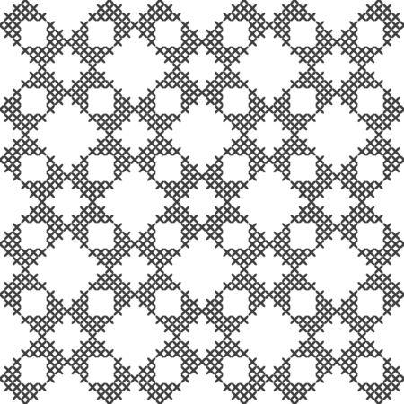 Black and white geometric pattern. Imitation cross stitch. Hand made background. Illustration