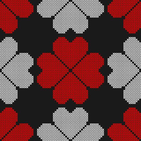 Hearts. Geometric background. Imitation cross stitch. Seamless decorative design for valentine day and wedding cards.