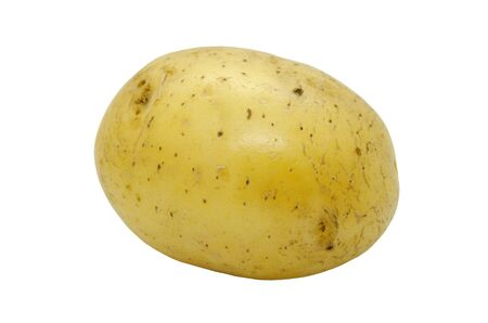 Potato tuber close up isolated on a white background. Fresh vegetables. Item for packaging, scene creator