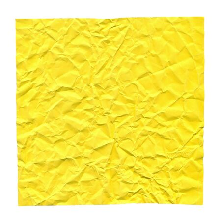 Crumpled yellow paper. Background for greetings, invitations. Item for scene creator and other design.