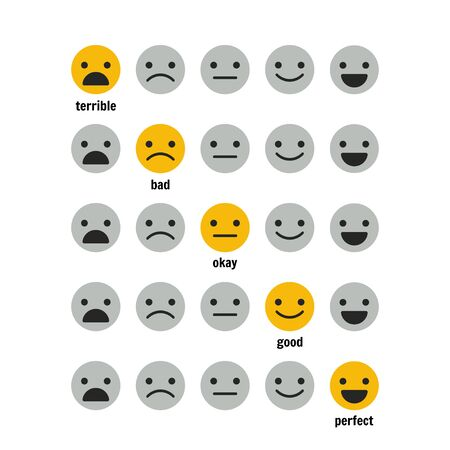 Icons, emoticons for rating or review. Feedback rate of satisfaction. Level