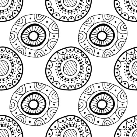 Black and white seamless pattern of decorative circles. Abstract, fantasy items for coloring book. Illustration
