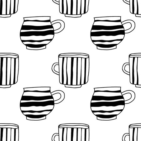 Black and white illustration of tea or coffee mugs. Seamless pattern for coloring book or page. Illustration