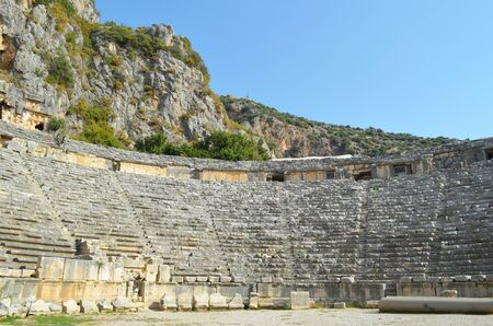 Ancient architecture in Demre. Turkey. Lycian necropolis with tomb carved in rocks in Mira.