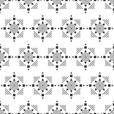 Black and white seamless pattern. Aztec abstract geometric background. Ethnic hipster style. Illustration 일러스트