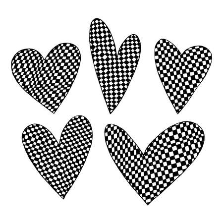 Checkered hearts. Doodle illustration on a white background