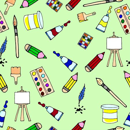 Seamless pattern. Artists artistic tools. Set of tools for drawing, vector illustration, vector watercolor, designer accessories, brushes, easel, palette. Иллюстрация